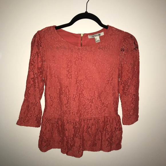 Forever 21 Tops - Coral Lace Peplum